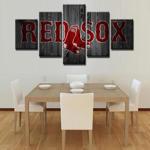 Boston Red Sox Mlb Baseball 5 Panel Canvas Wall Art Home Decor