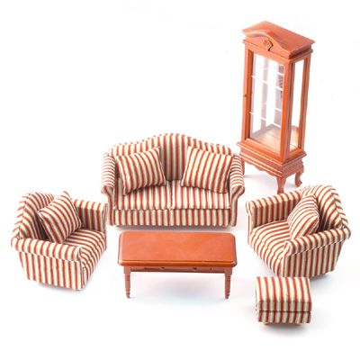 1:12 scale Striped Sofa Living Room set with Cabinet and Coffee table