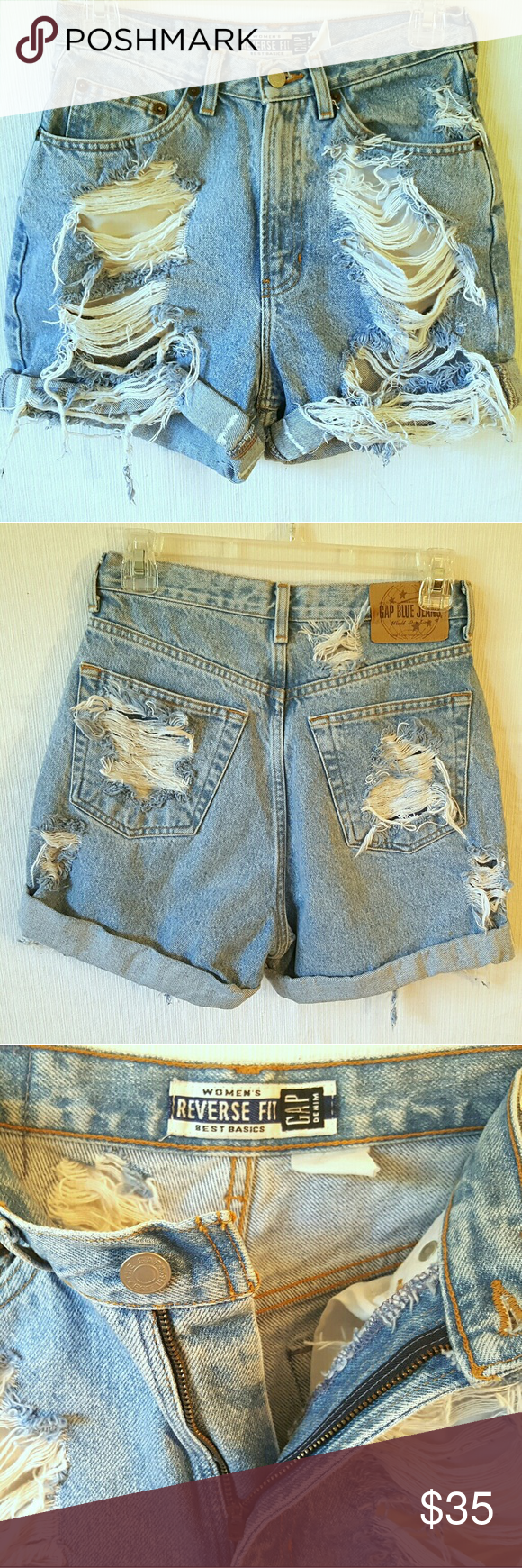 """Vintage High Waisted Distressed Cuffed Jean Shorts These are beautiful Gap hand distressed double turned twisted cuff (with sticking to secure). These genuine vintage """"mom jeans' feature a beautiful light stone wash. The fit is so beautiful and makes your booty look AMAZING!!!   30"""" waist, 12"""" front rise, 16"""" back rise 3"""" inseam 14.5 total length Shorts Jean Shorts"""