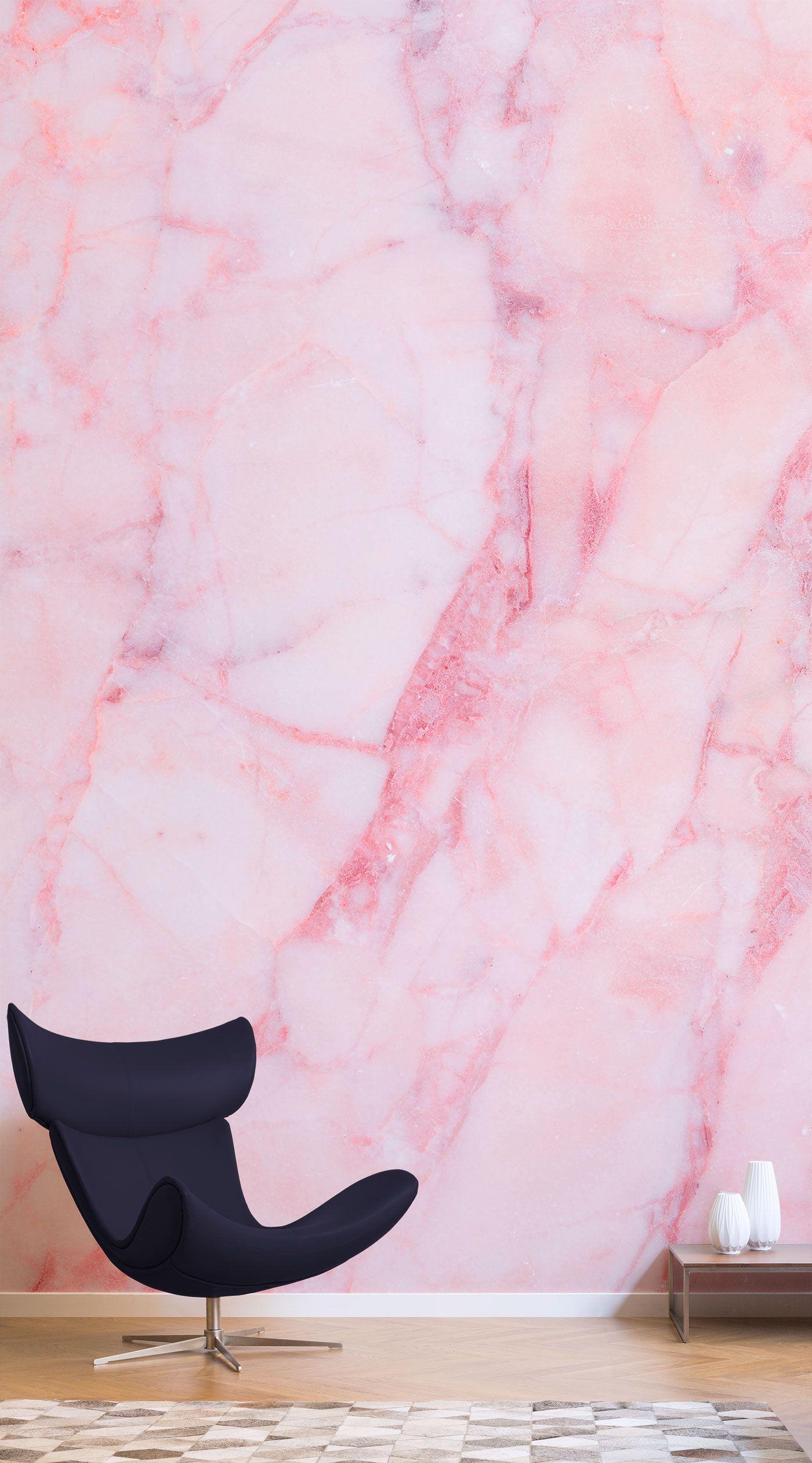 Baby Pink Cracked Marble Wallpaper Mural MuralsWallpaper