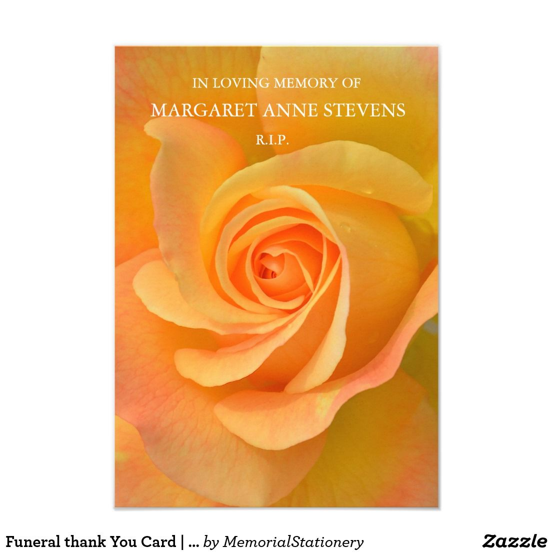 Funeral Thank You Cards Orange Rose Zazzle Com Funeral Thank