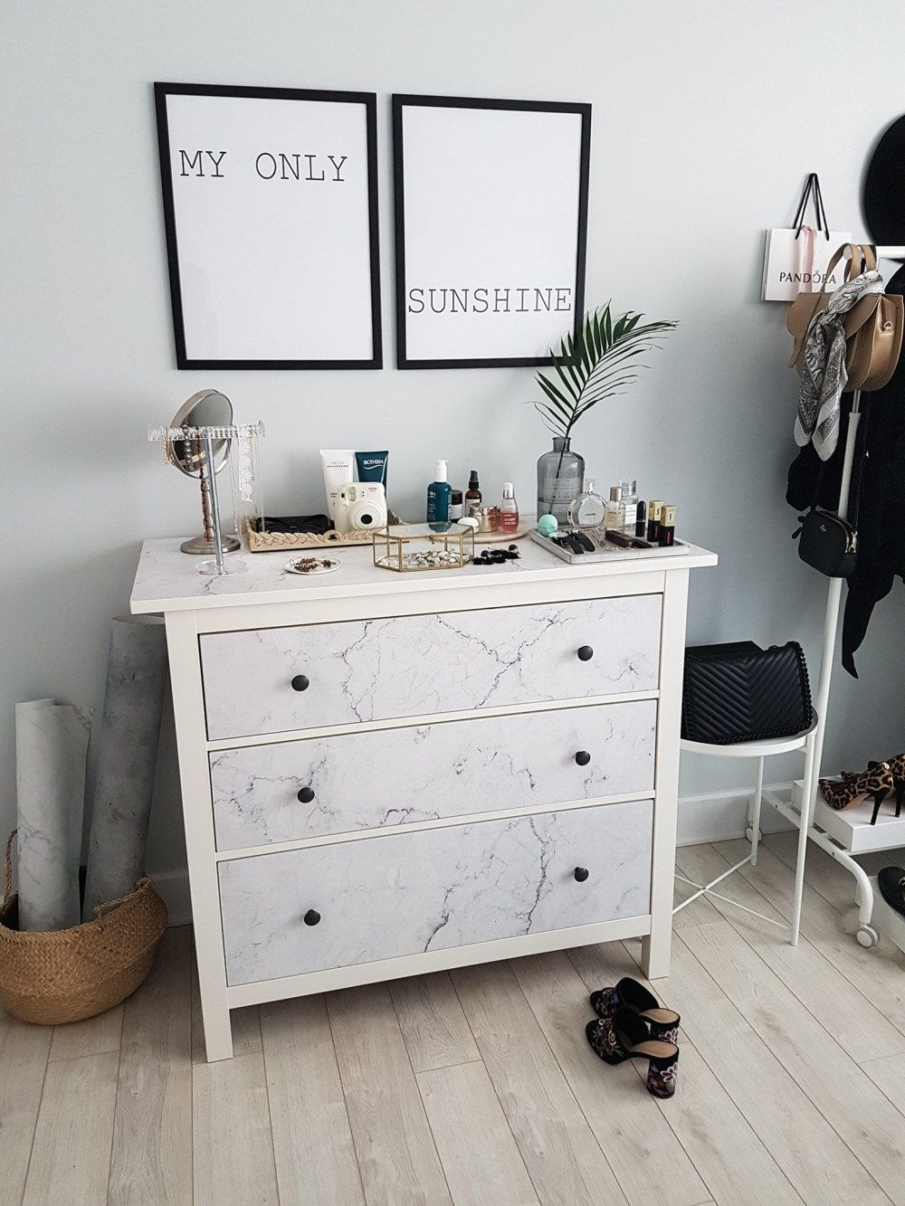 #ikeahack #ikea #marble #dresser Source: Http://www.petiteandbold.com/ Bedroom Makeover Installing Our Pixerstick Wall Mural A Chic Ikea Hack/