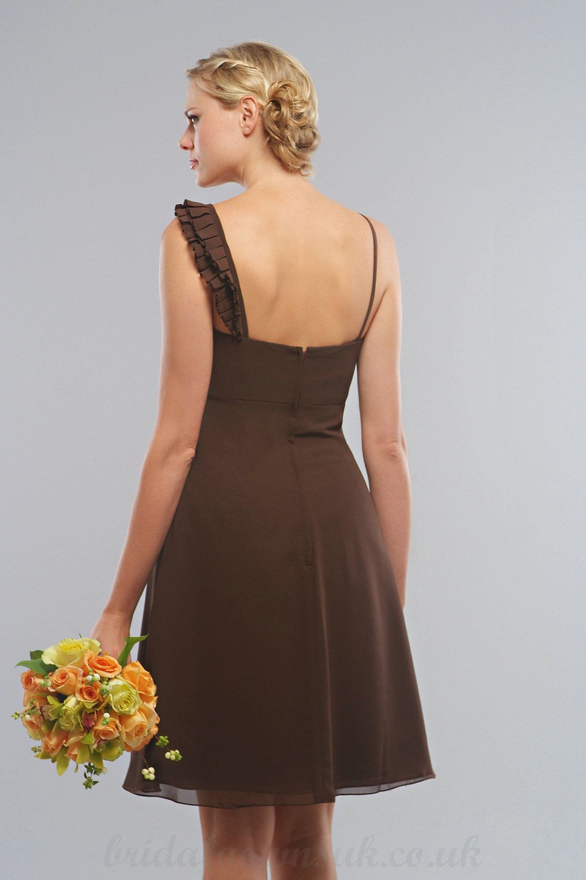 2012 New Style Asymmetric Straps Square Neckline Sleeveless with Beads Short Chiffon Brown Bridesmaid Dress