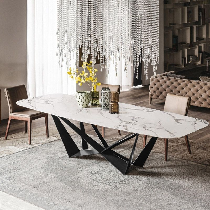 Modern Stylish Rectangle White Faux Marble Top Dining Table With Black Metal Base In Small Medium Large In 2020 Dining Table Marble Modern Dining Table Contemporary Dining Table