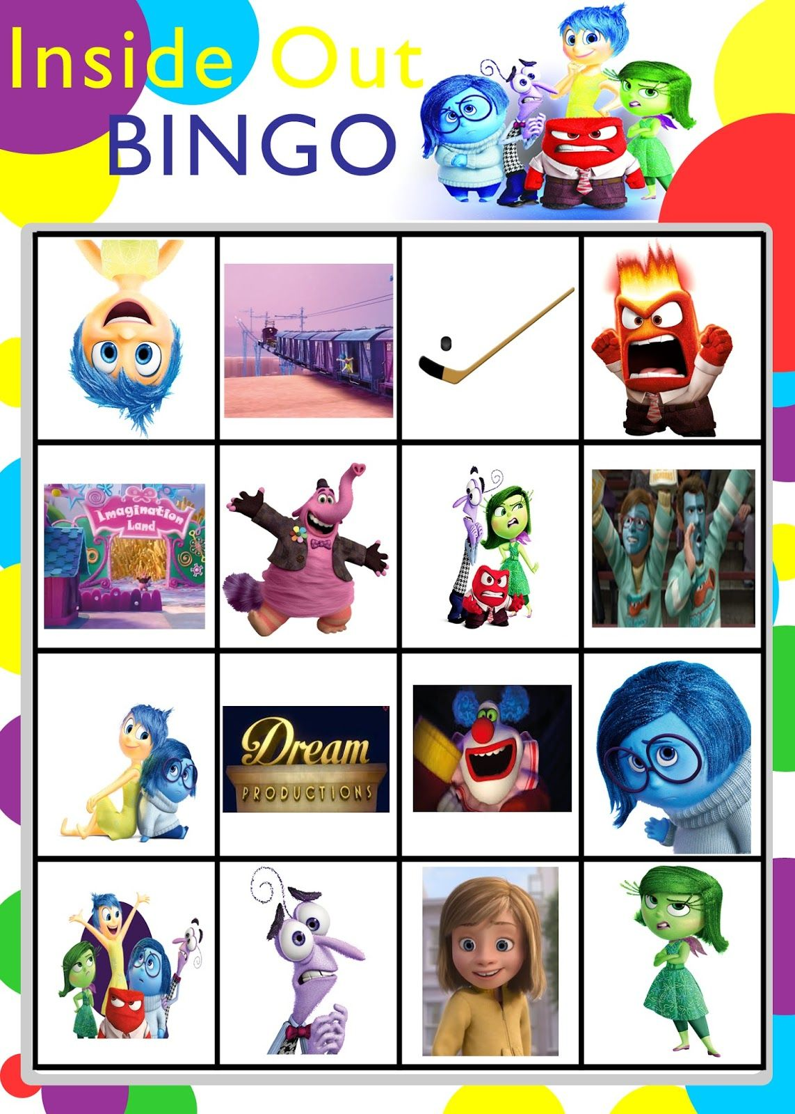 Printable Inside Out Bingo Game Perfect For Getting Your