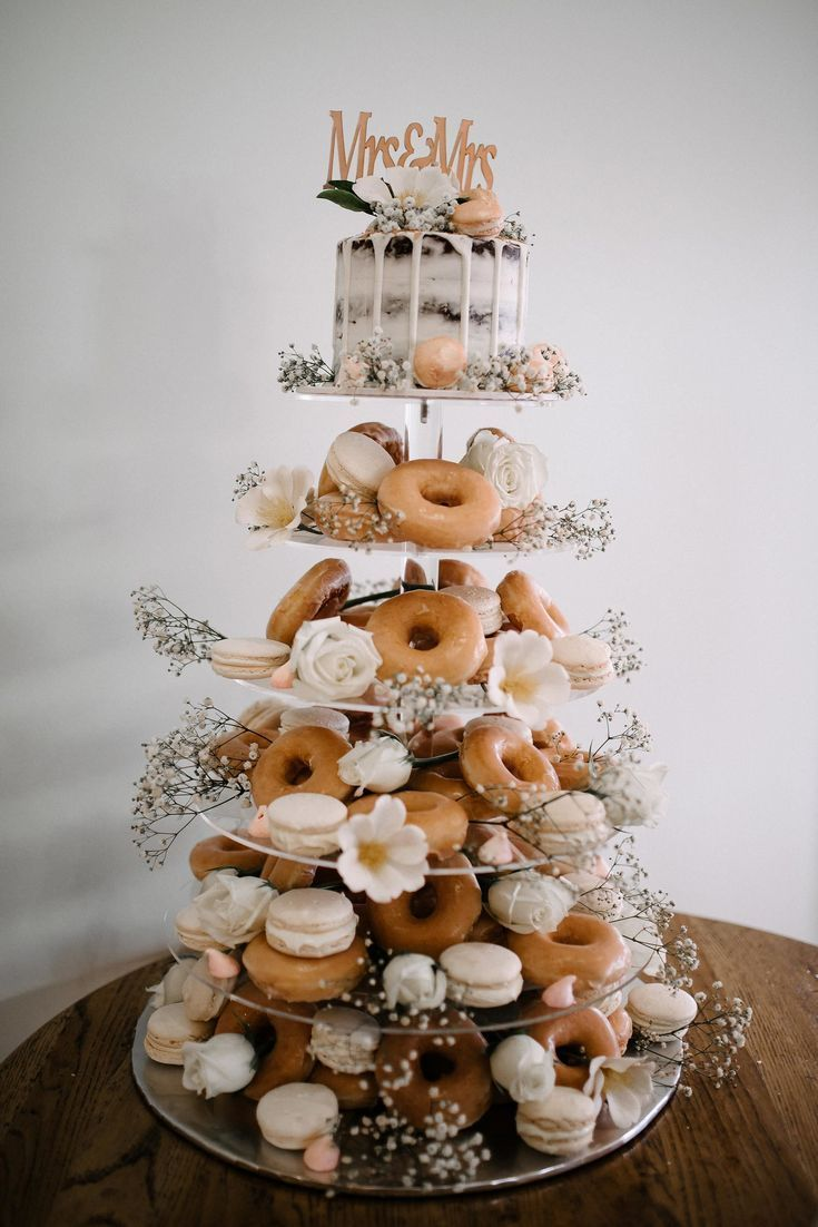 DIY donut tower wedding cake #weddings #cakes #weddingcakes #weddingideas #we #weddingideas
