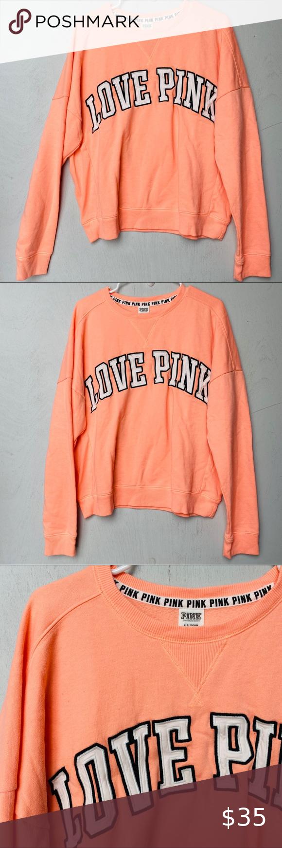 Pink By Vs Peach Neon Orange Crew Neck Sweater Crew Neck Sweater Neon Orange Pink Sweater Victoria Secret [ 1740 x 580 Pixel ]