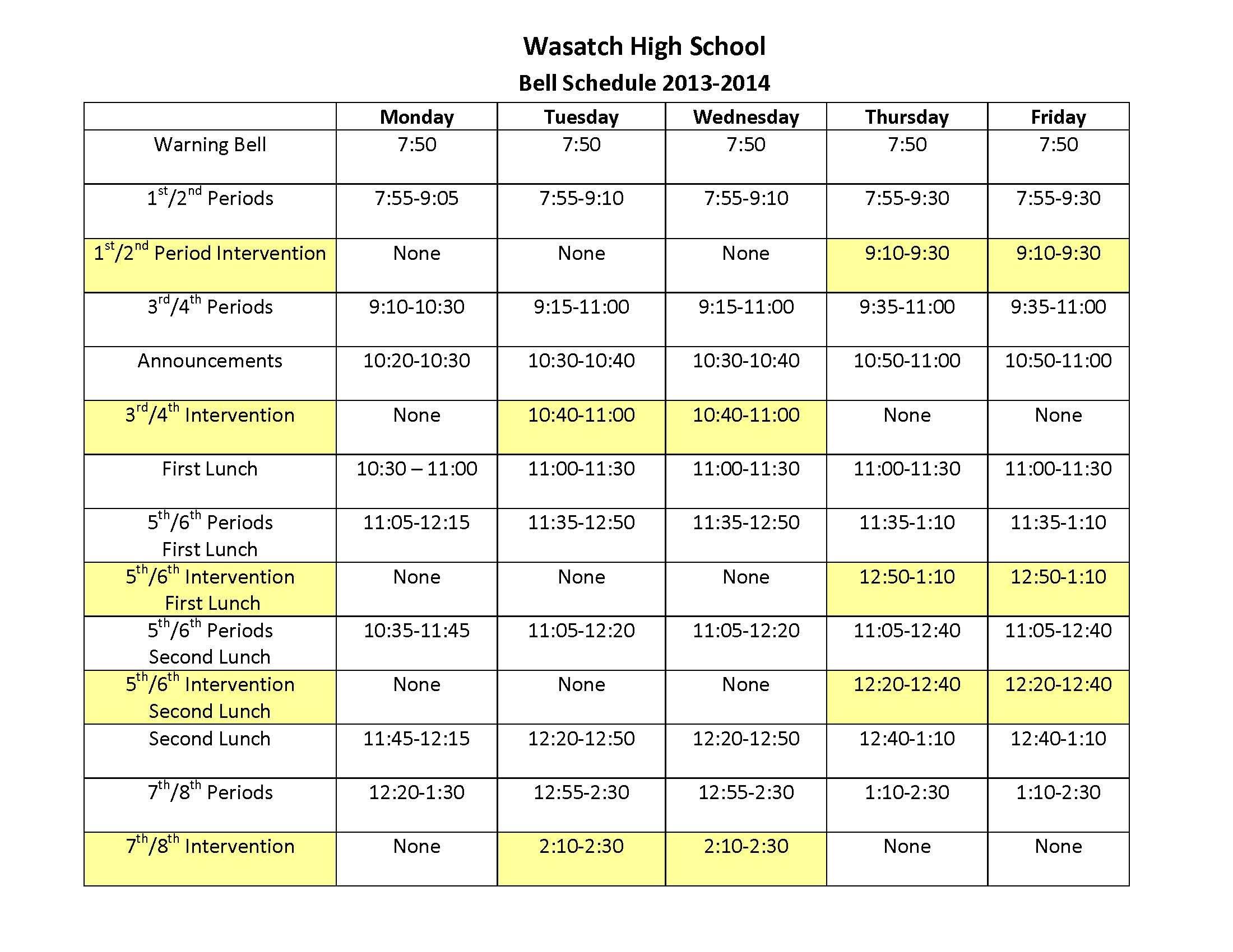 Wasatch High School Bell Schedule