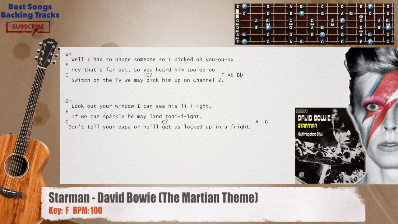 Starman David Bowie The Martian Theme Guitar Backing Track With