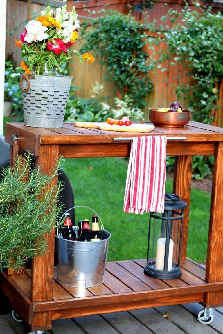 Bbq cart diy 2 outdoor serving table diy bbq outdoor
