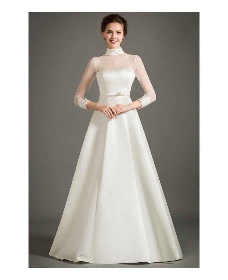 Modest A-Line High-neck Floor-length Satin Wedding Dress