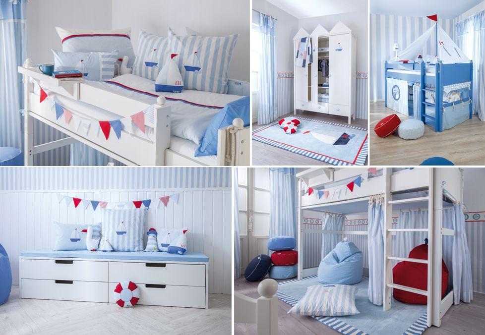 Kinderzimmer Maritim ~ Exklusives komplett umbaubares kinderbett segelboot in blau im