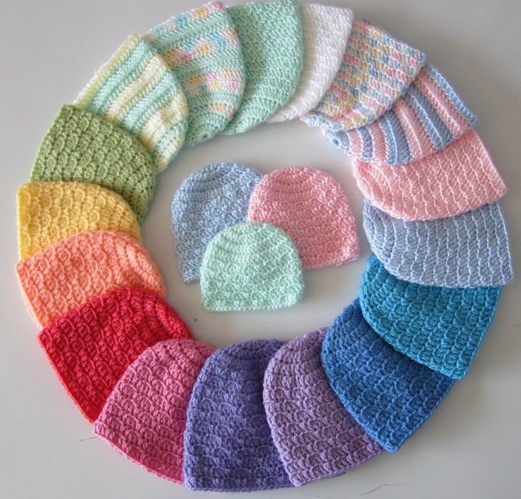 3 Quick and Easy Newborn Caps - 6 Sizes | Crochet baby ...
