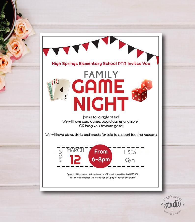Family Game Night Flyer, School or Church, Event Custom