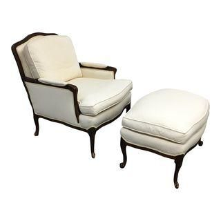 French Style Bergere Chair U0026 Ottoman