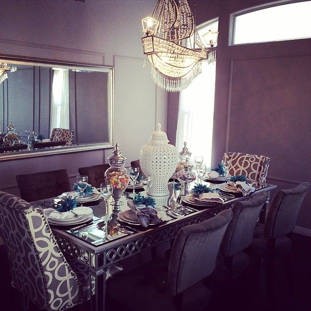 officialkellyoneil created a gorgeous table with our Crystal Ship  Chandelier  Sophie Mirrored Dining Tableofficialkellyoneil created a gorgeous table with our Crystal Ship  . Ship Dining Room Set. Home Design Ideas