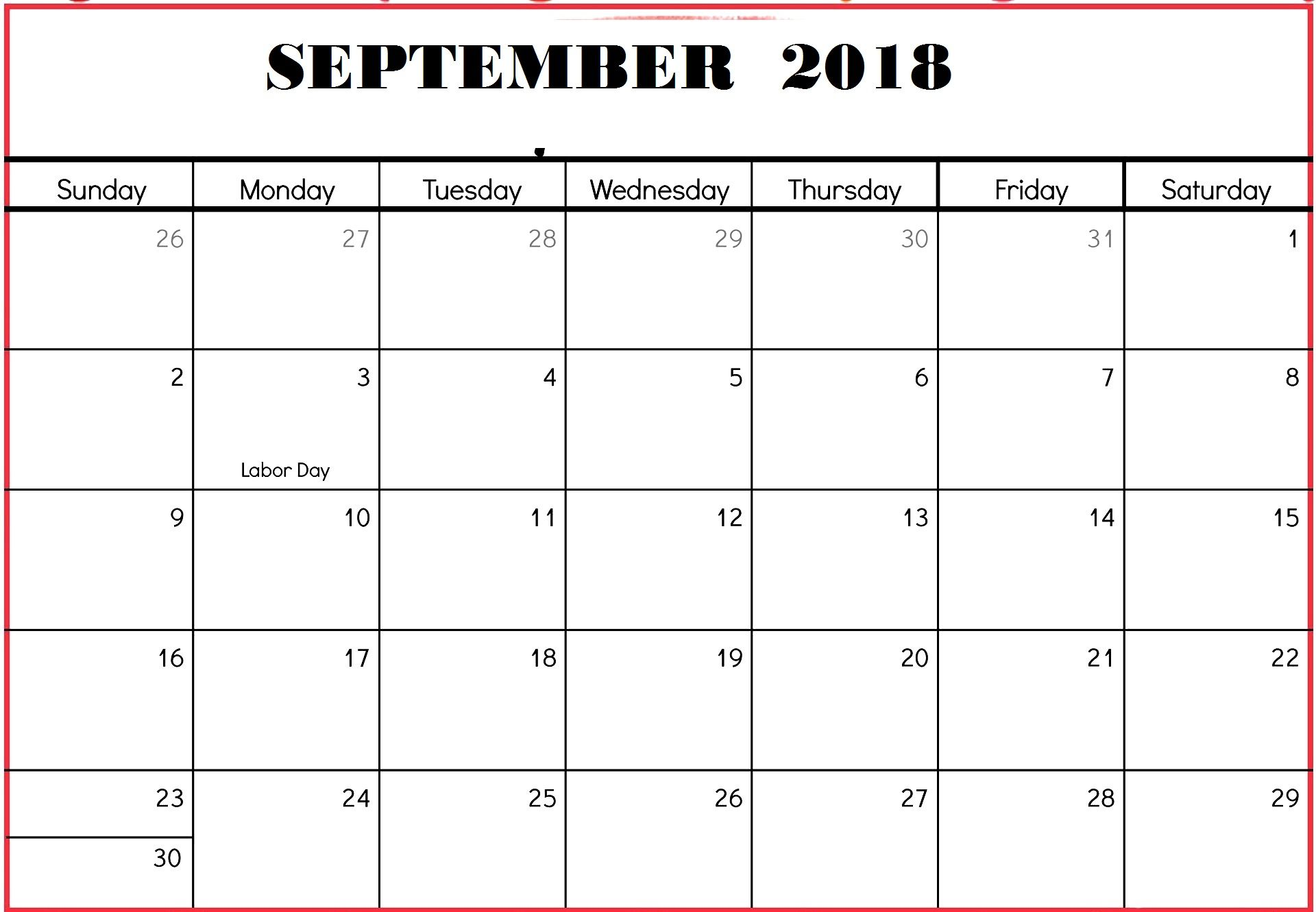Blank September Calendar Printable Worksheet