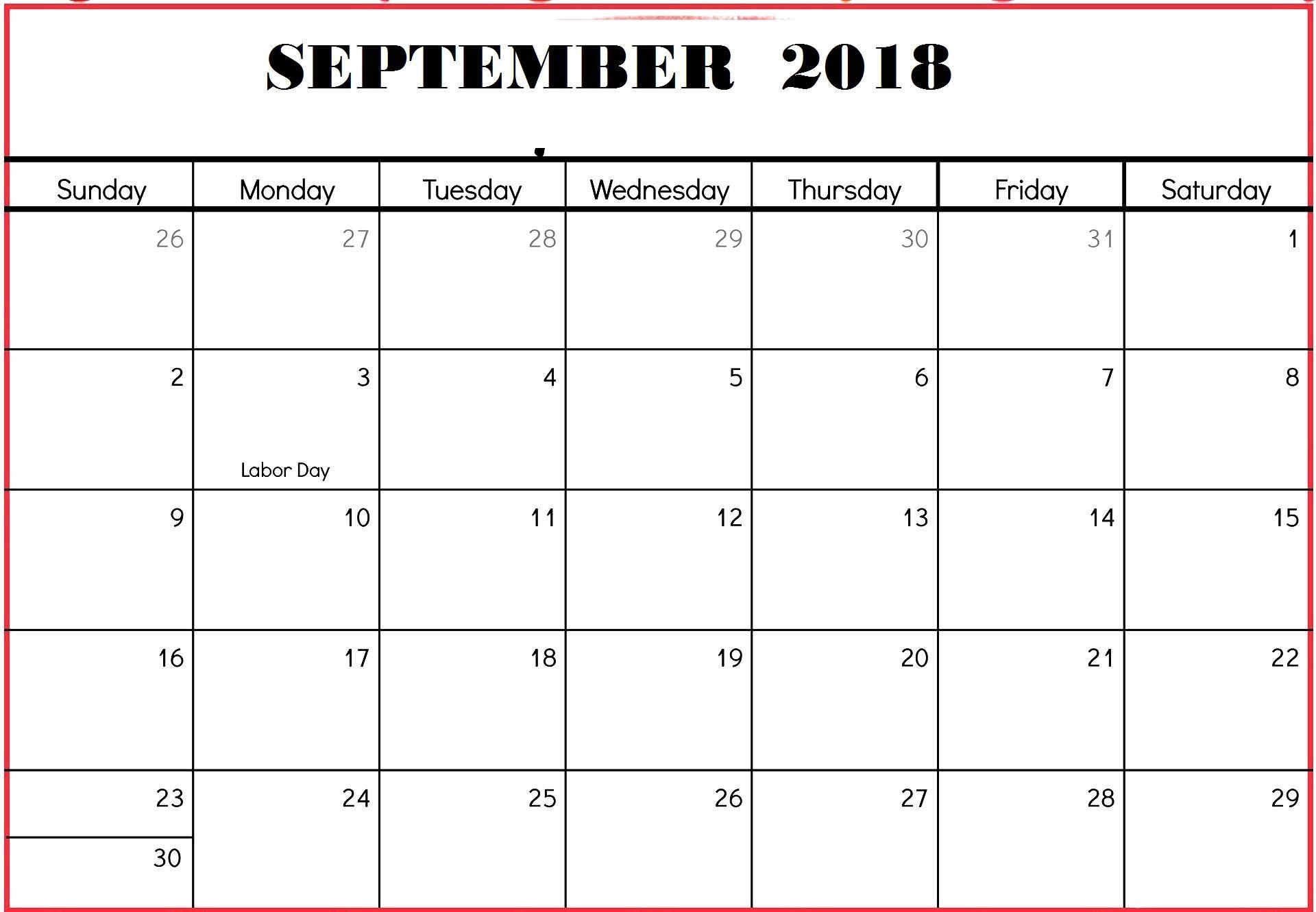 Blank September Calendar Printable Worksheet