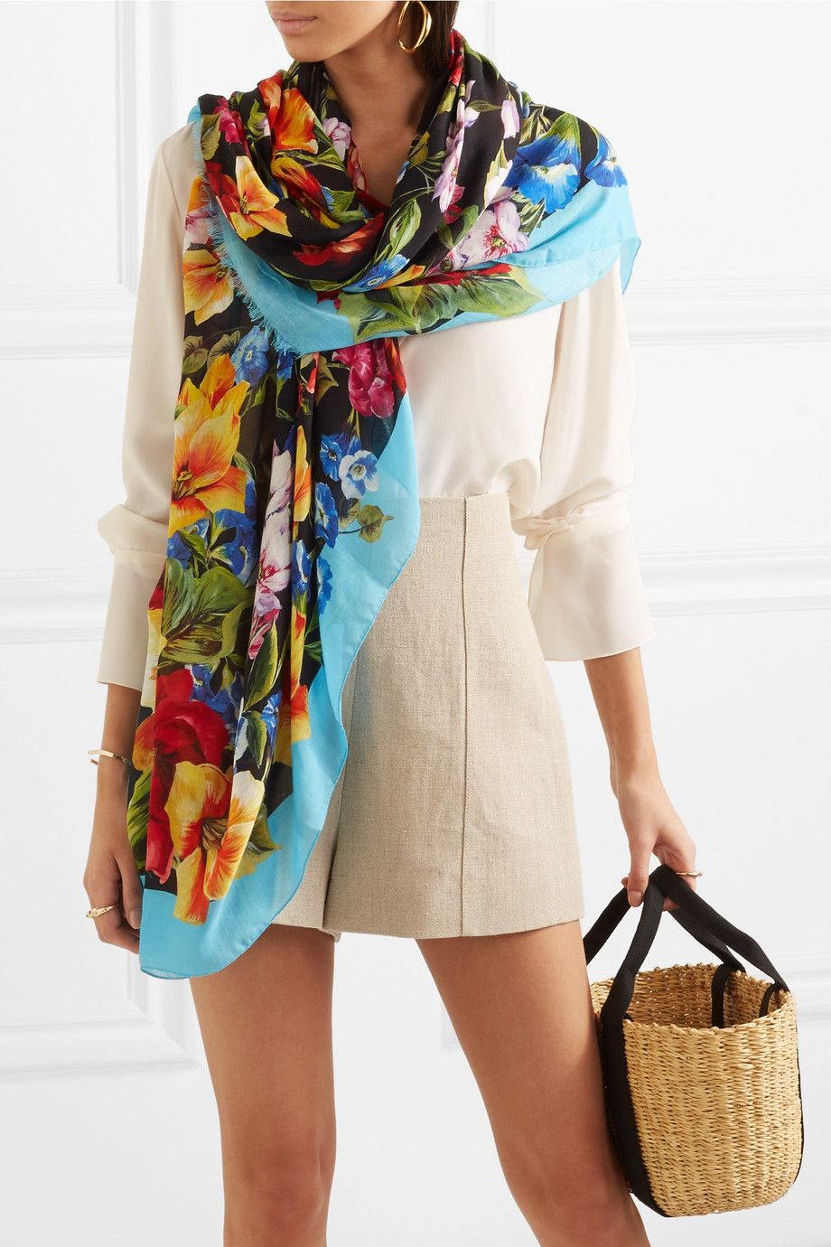 Floral-print Modal And Cashmere-blend Scarf - Black Dolce & Gabbana sXBH4fO