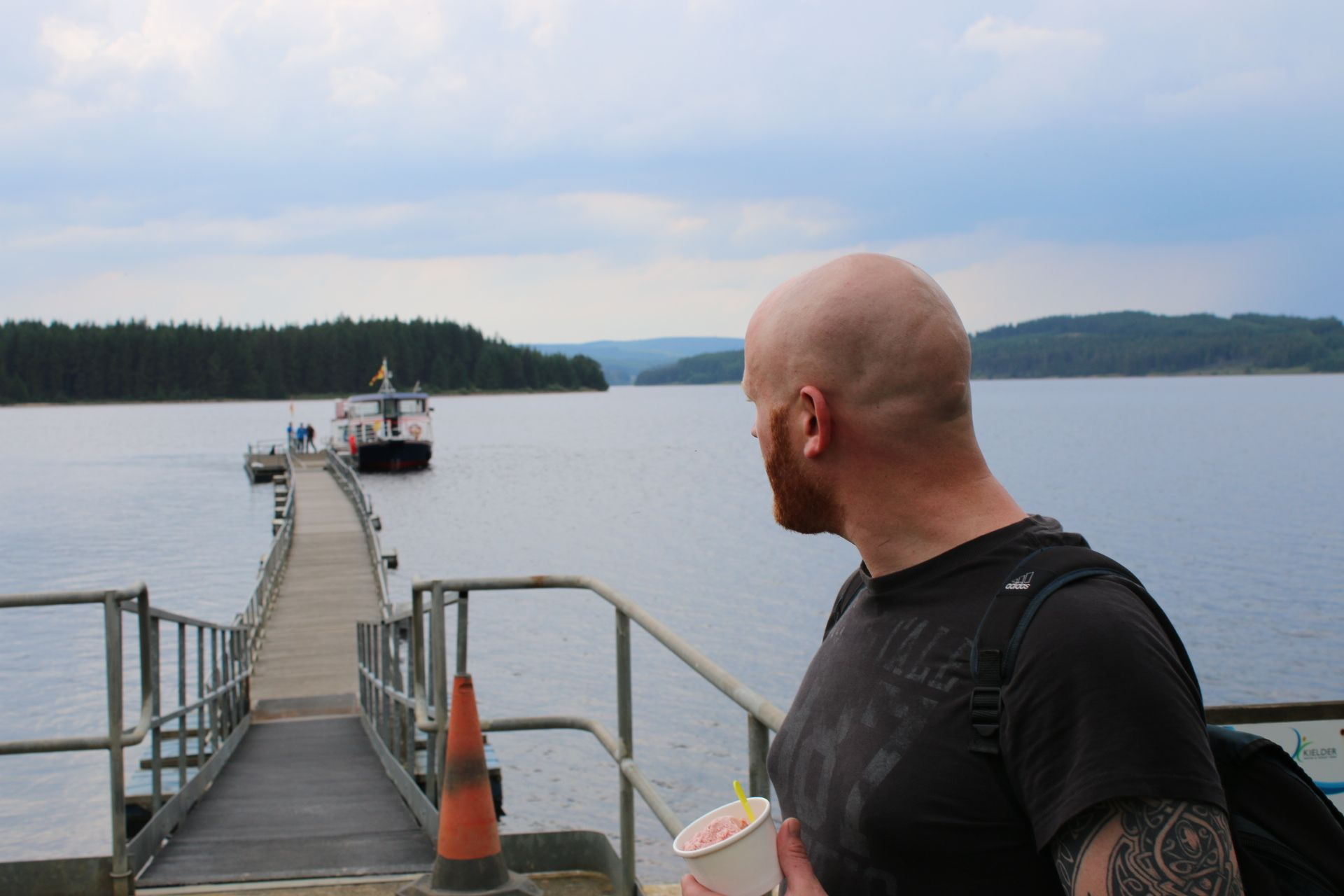 Enjoying Café on the Water's Ice Creams while we wait for The Osprey Ferry to complete it's lap of the Kielder Reservoir  - Photography by Jonathan Webb