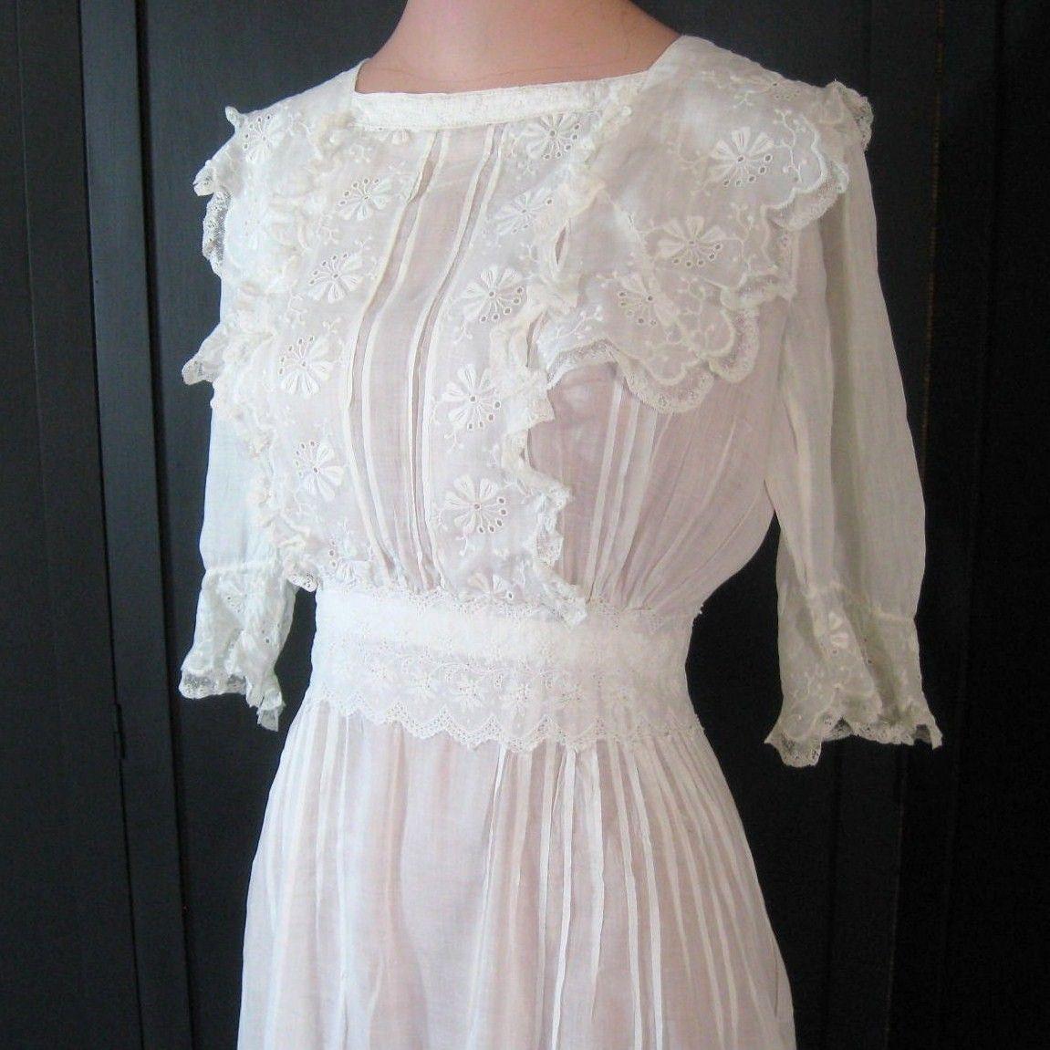 Vintage Antique Edwardian Dress White Sheer Cotton Tiered