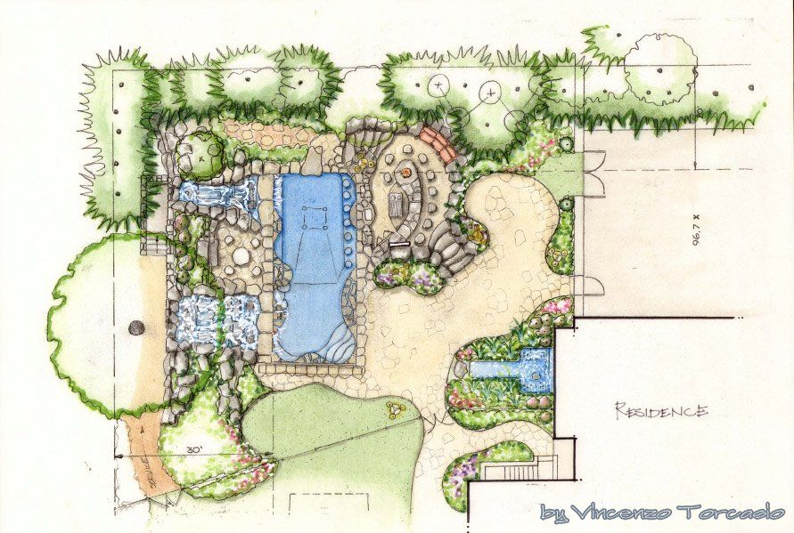 Amazing ideas landscape architecture tree sketches for Landscape garden design plans