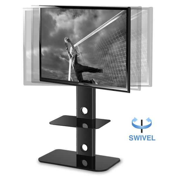 Adjustable Height Tv Stand With Swivel Mount Component Shelf For