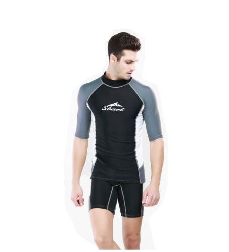 2a1f24a4f9c Men-039-s-Rash-Guard-Short-Sleeve-Sun-Shirts-UV-Surf-Swim-Lycra-Surf-Top- Swimwear