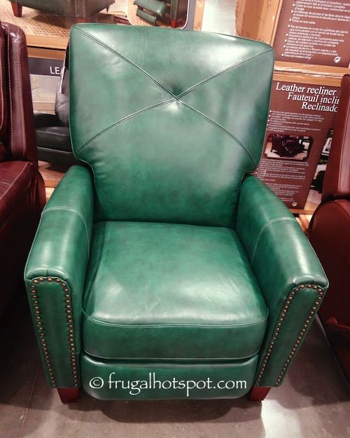 Bainbridge Green Leather Pushback Recliner #Costco #FrugalHotspot : swivel leather recliners costco - islam-shia.org