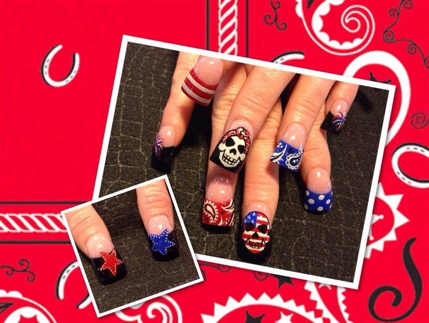 Fourth of July skulls - Nail Art Gallery | Nails | Pinterest | Skull ...