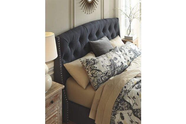 Best Kasidon Queen Tufted Bed With Images Grey Headboard 400 x 300