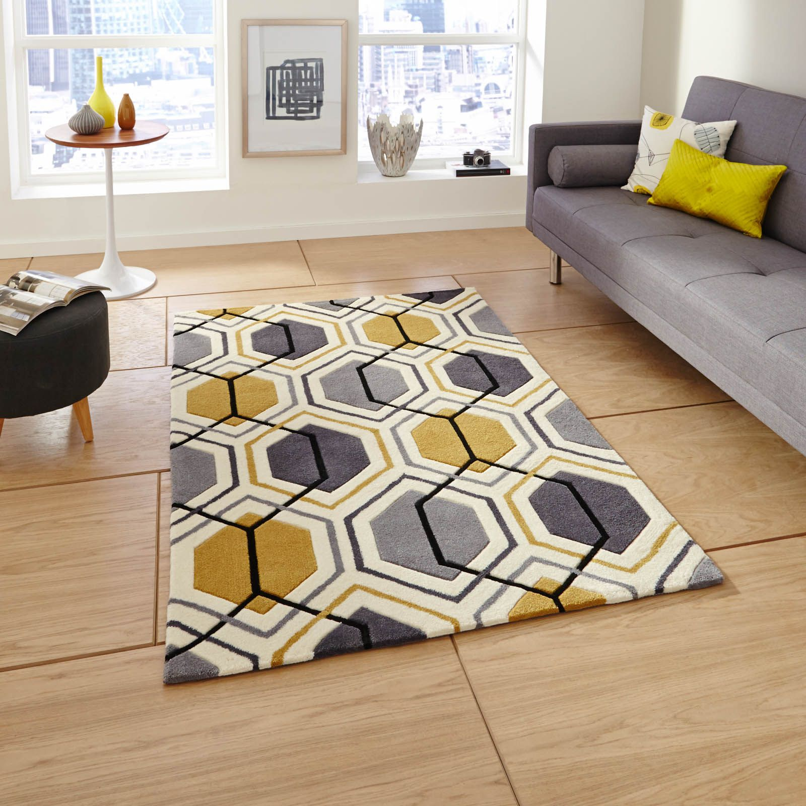 Hong Kong Hk 7526 Rugs In Grey Yellow Free Uk Delivery