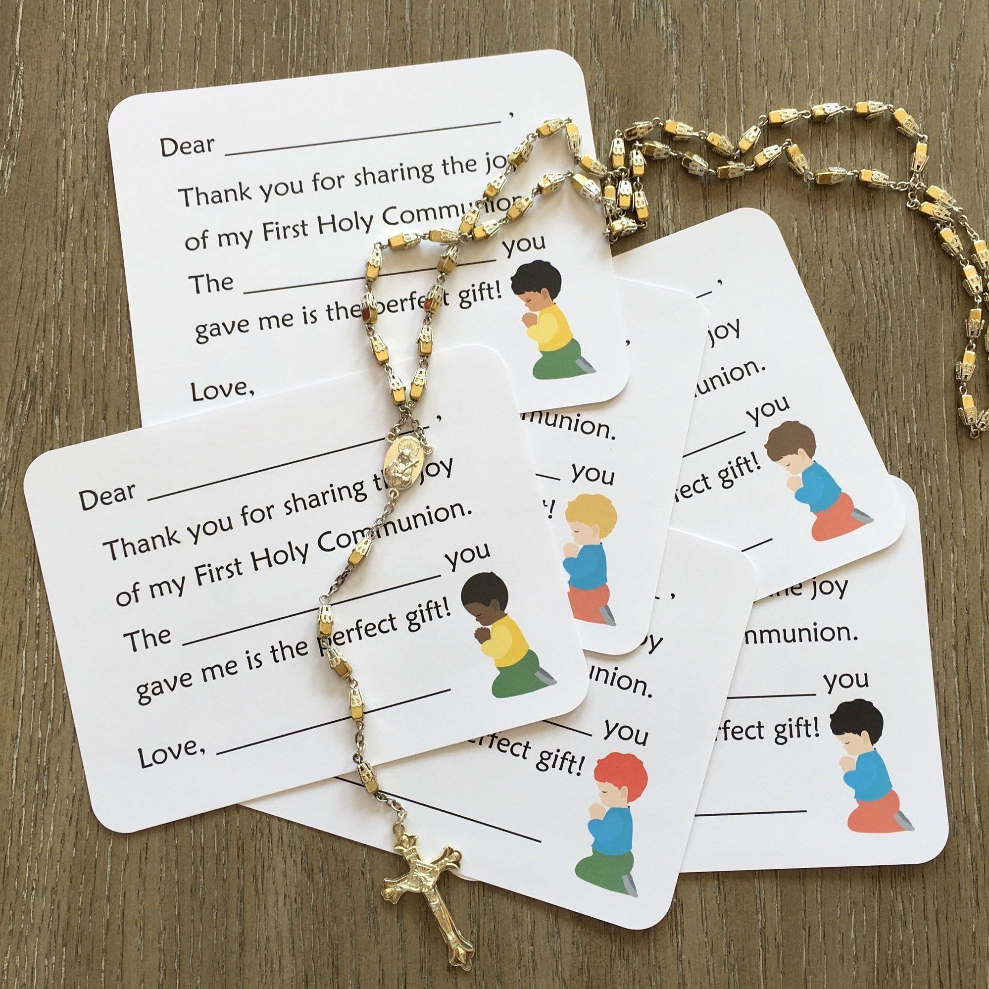 First communion thank you cards boy options fill in
