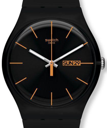 Swatch Dark Rebel Black Silicone Unisex Watch SUOB704 $56.88