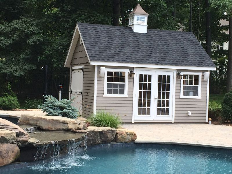 Custom pool houses amish mike amish sheds amish barns for Garden pool sheds
