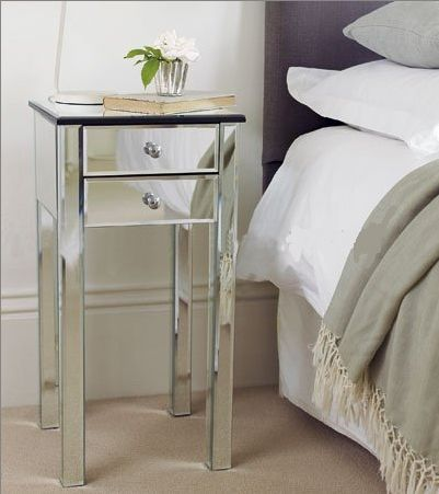 Set Of Two Mirrored Glass Bedside Tables Cabinets Venetian Twin 2 Drawer Pair X2 Venetian