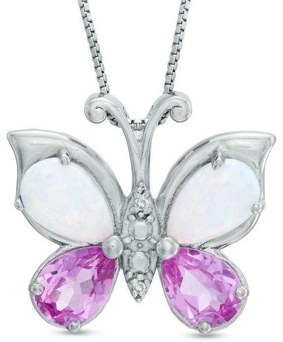 Zales Pear-Shaped Lab-Created Ruby and Diamond Accent Butterfly Pendant in Sterling Silver Xc4yr