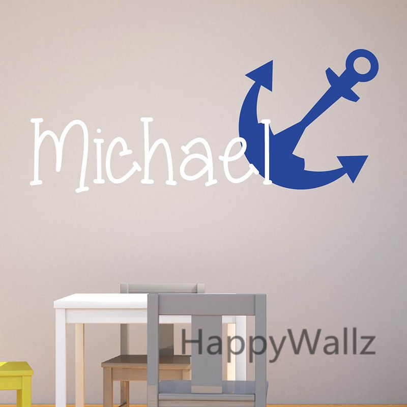 Anchor wall sticker diy custom name wall decal kids room baby nursery children name wall decors