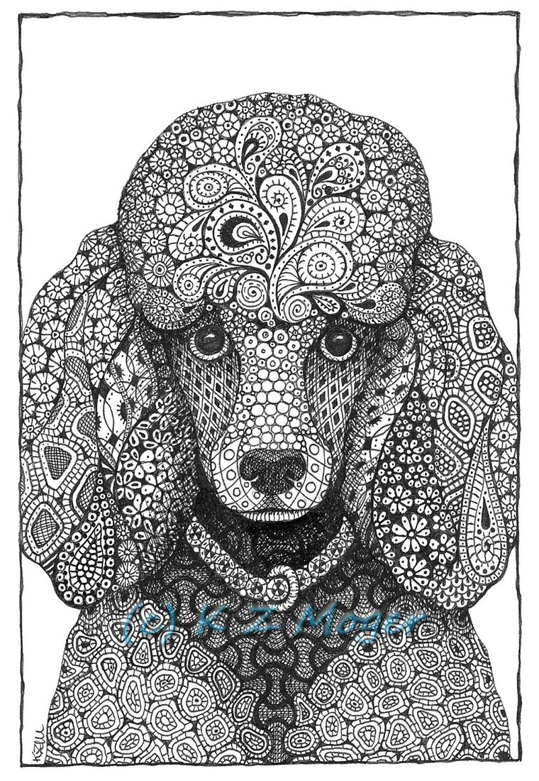 Domestic and wild zentangle animal portraits 2020 dog, i love dad coloring pages