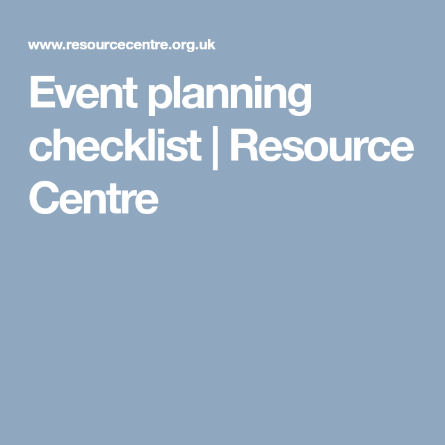 Event Planning Checklist  Resource Centre  GloBall