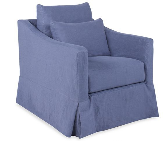 Charmant Boston Interiors | Costello Slipcovered Swivel Chair In Logan Federal Blue  Comes Stocked In Washable Linen