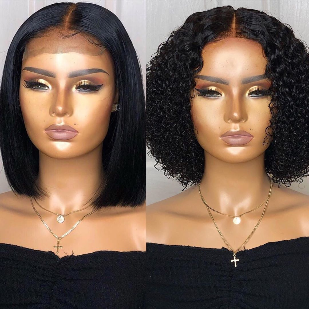 How Do You Like This Wig Human Hair Lace Wigs Short Bob Wigs Curly Hair Styles