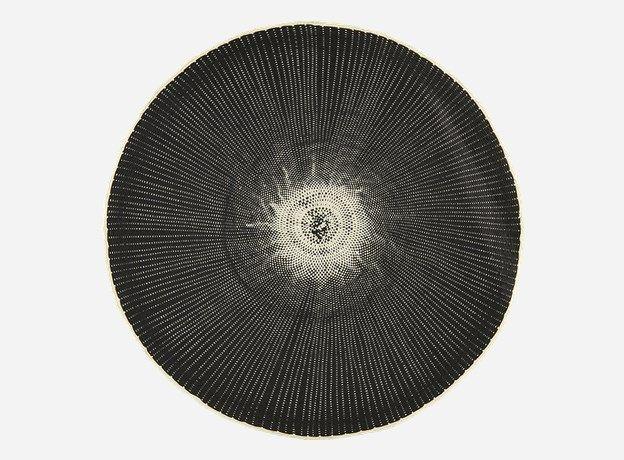 Ft0011 - Dækkeserviet, Circle, natur/sort, dia.: 38 cm