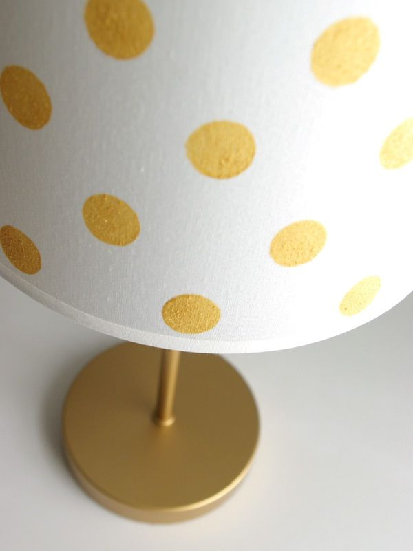 Diy gold dot lampshade diy lampshade gold dots and metallic gold with a few items you can turn a basic lampshade into an adorable feature in your nursery kids room or playroom jeran shares her diy gold dot lampshade aloadofball