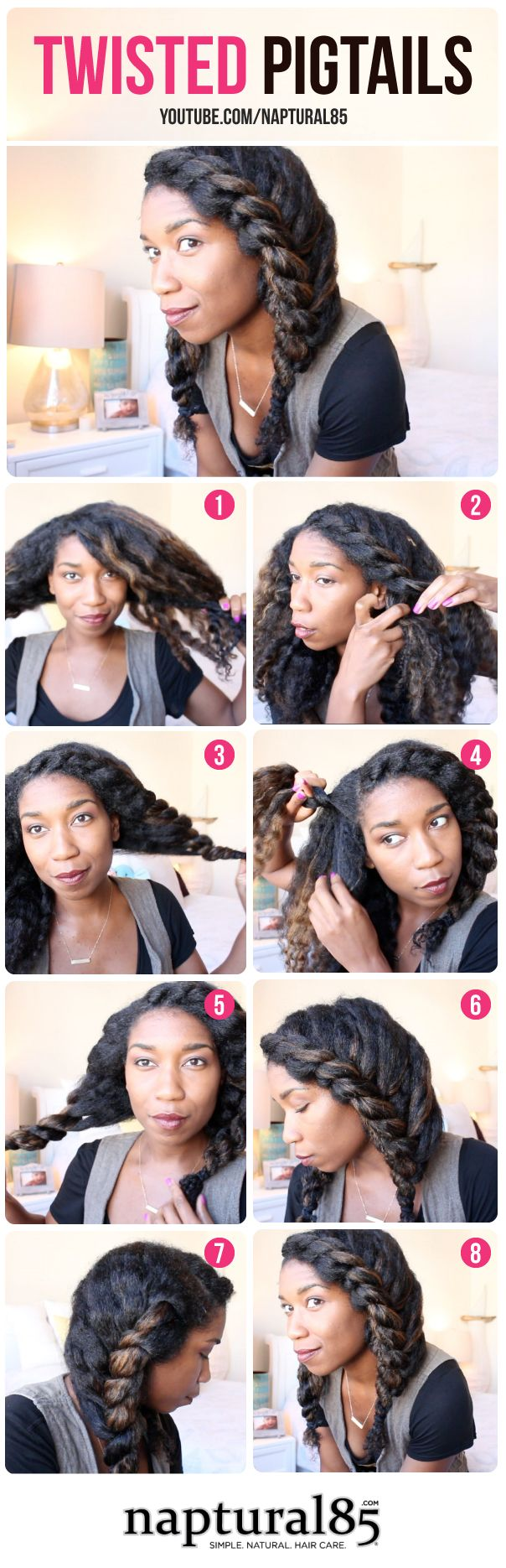 Natural hairstyles by naptural twisted pigtails easy hairstyle