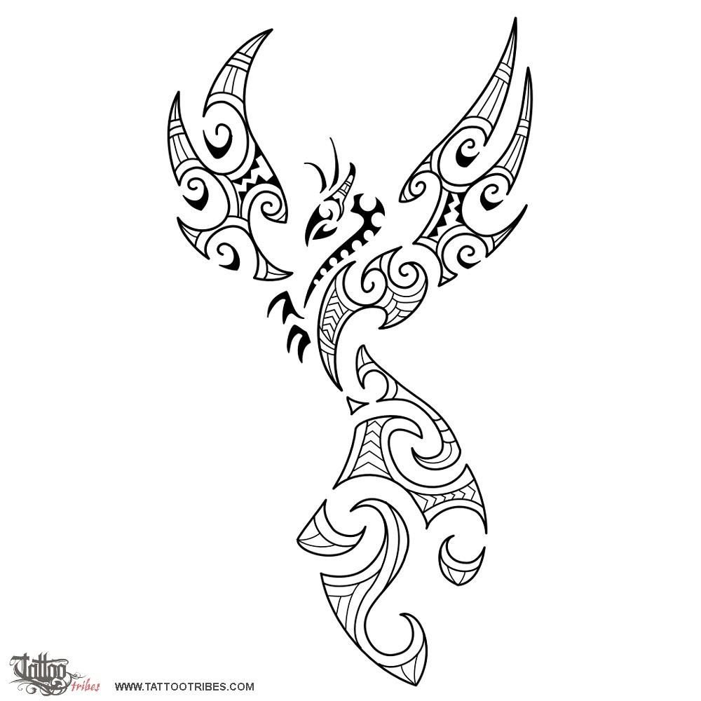 fire maori style phoenix tattoo tattoo designs. Black Bedroom Furniture Sets. Home Design Ideas