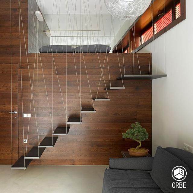 Escalera De Estilo Moderno Con Tensores De Metal. Todo