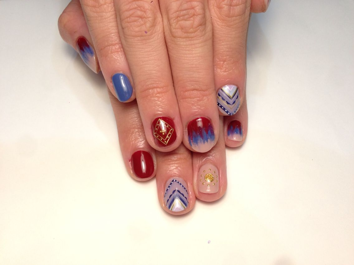 Native American style nails for hand, autumn 2015. #manicure #nails ...