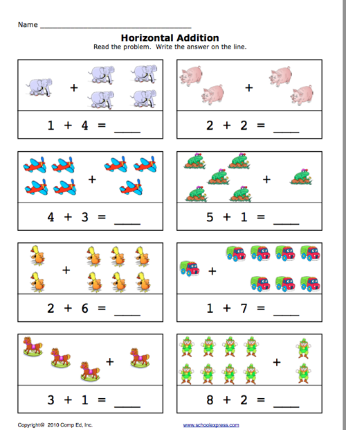 Pre-K Addition Worksheets | Click here: add1-10.pdf to download the ...