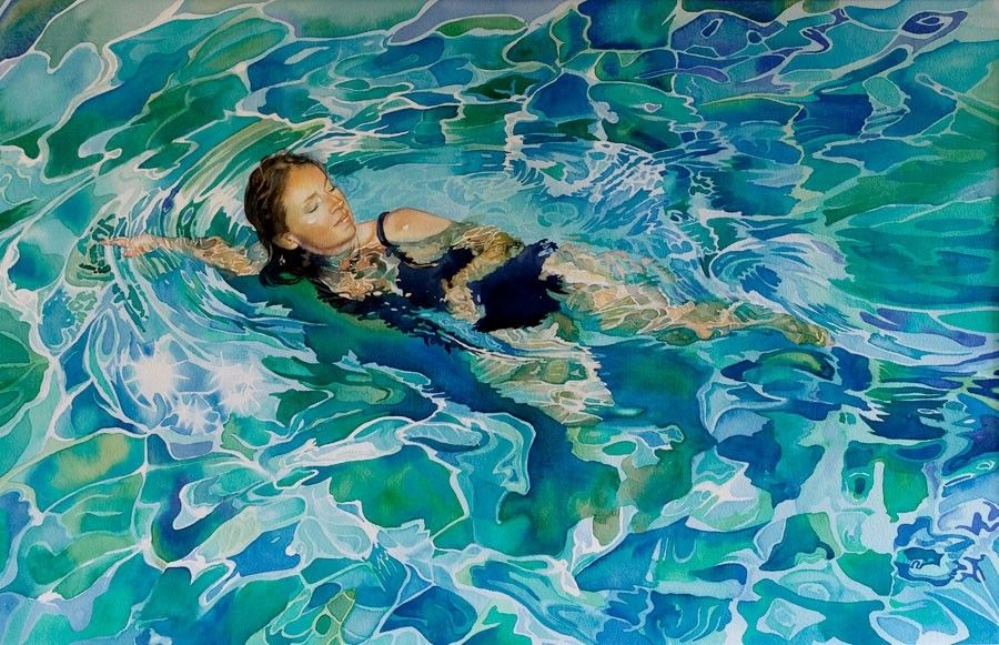 Swimmer Painting By Gillian Marklew Tableau Abstrait